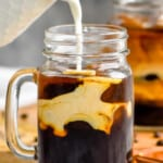 pinterest graphic of half and half being poured into an iced coffee