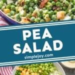 pinterest graphic of pea salad