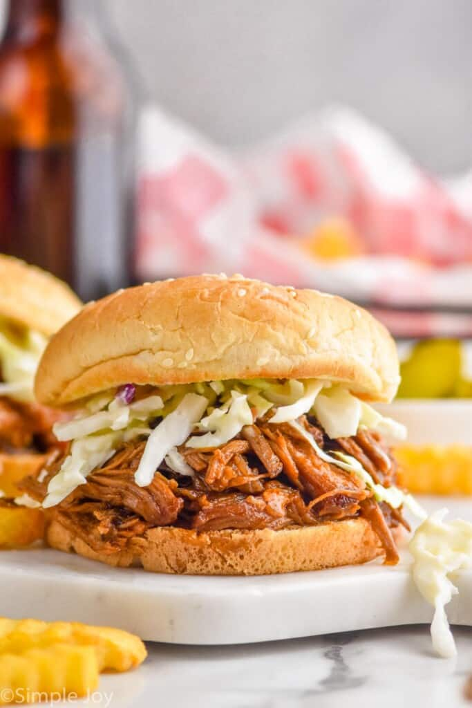 bbq pulled pork on a bun with coleslaw