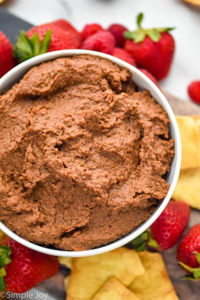 close up overhead of a bowl of chocolate hummus recipe