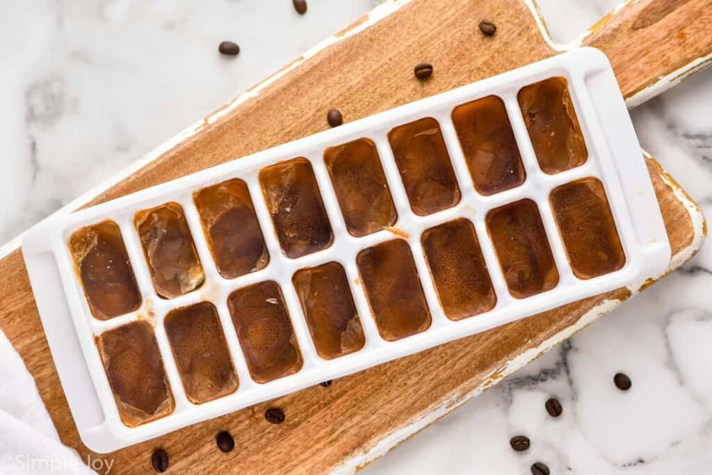 over head of a tray of coffee ice cubes