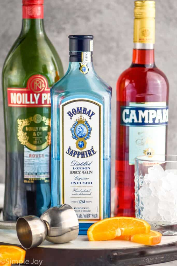 bottle of vermouth, gin, and Campari, the negori ingredients