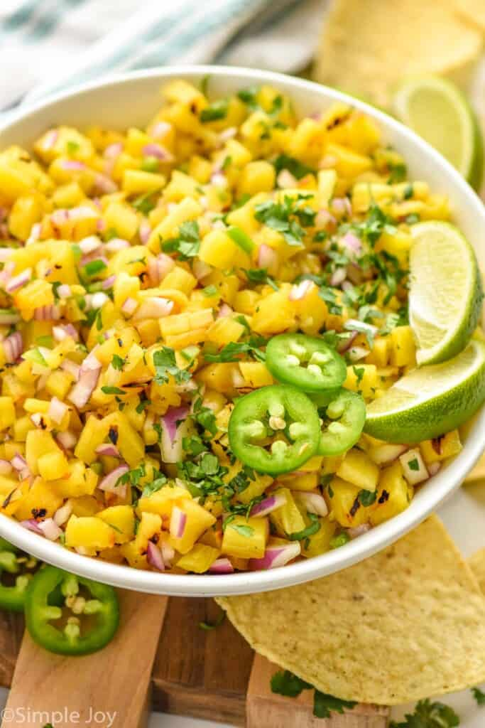 side view of a bowl of pineapple salsa