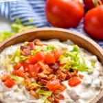 pinterest graphic of side view of a bowl of blt dip recipe