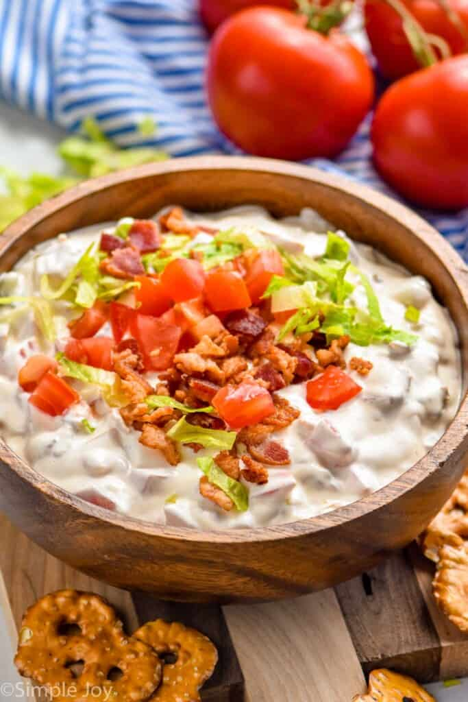 side view of a bowl of blt dip recipe