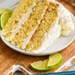 pinterest graphic of a piece of key lime cake on a small plate