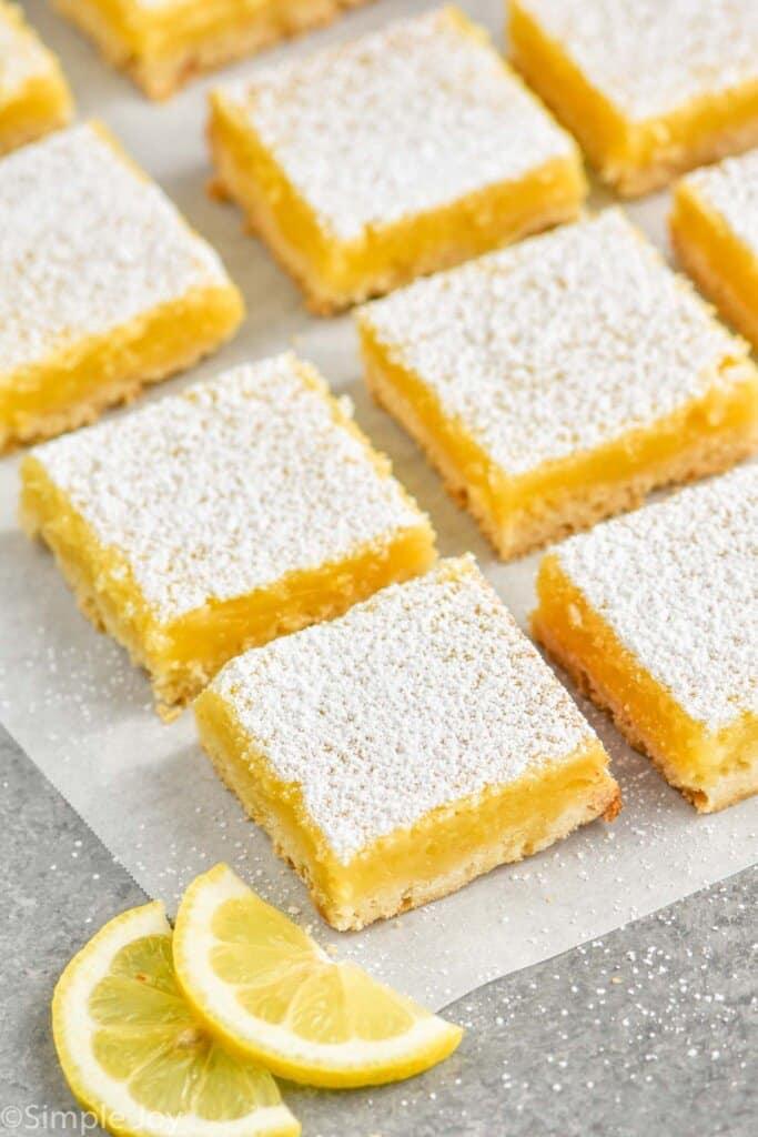lemon bars recipe on parchment paper