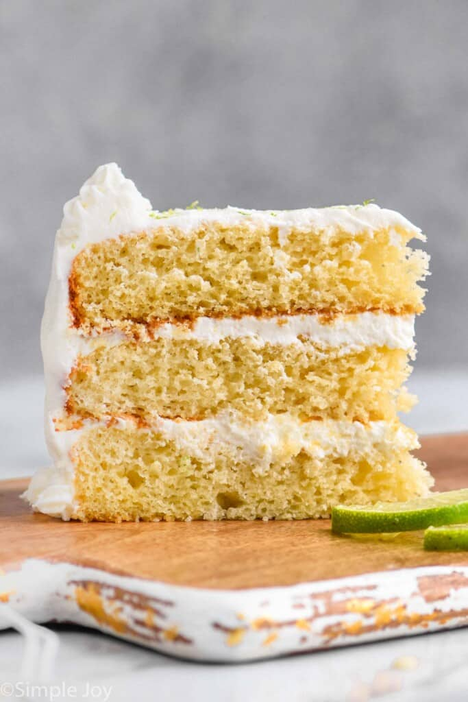 side view of a piece of homemade key lime cake