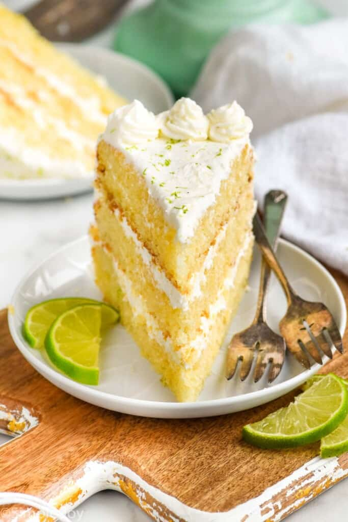 front on picture of a piece of key lime cake on a white plate standing up