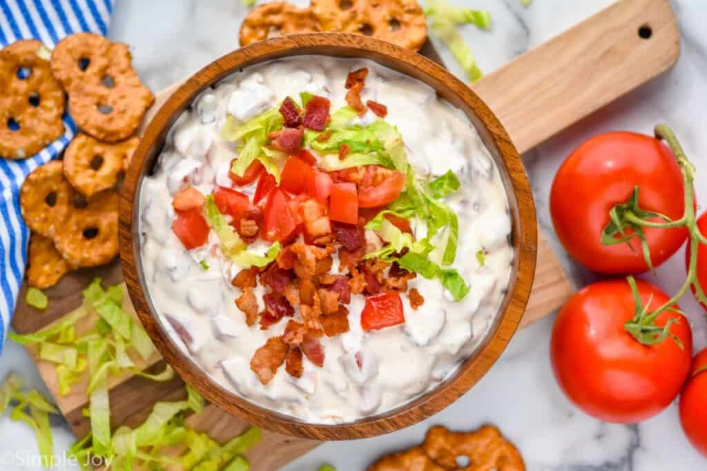 overhead of a bowl of cold blt dip