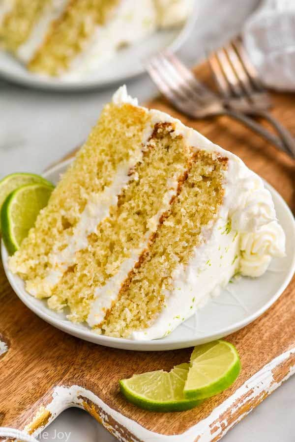a piece of key lime cake on a small plate