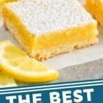 Pinterest graphic of a close up of a lemon bar on parchment paper