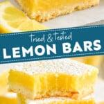 pinterest graphic for lemon bars recipe