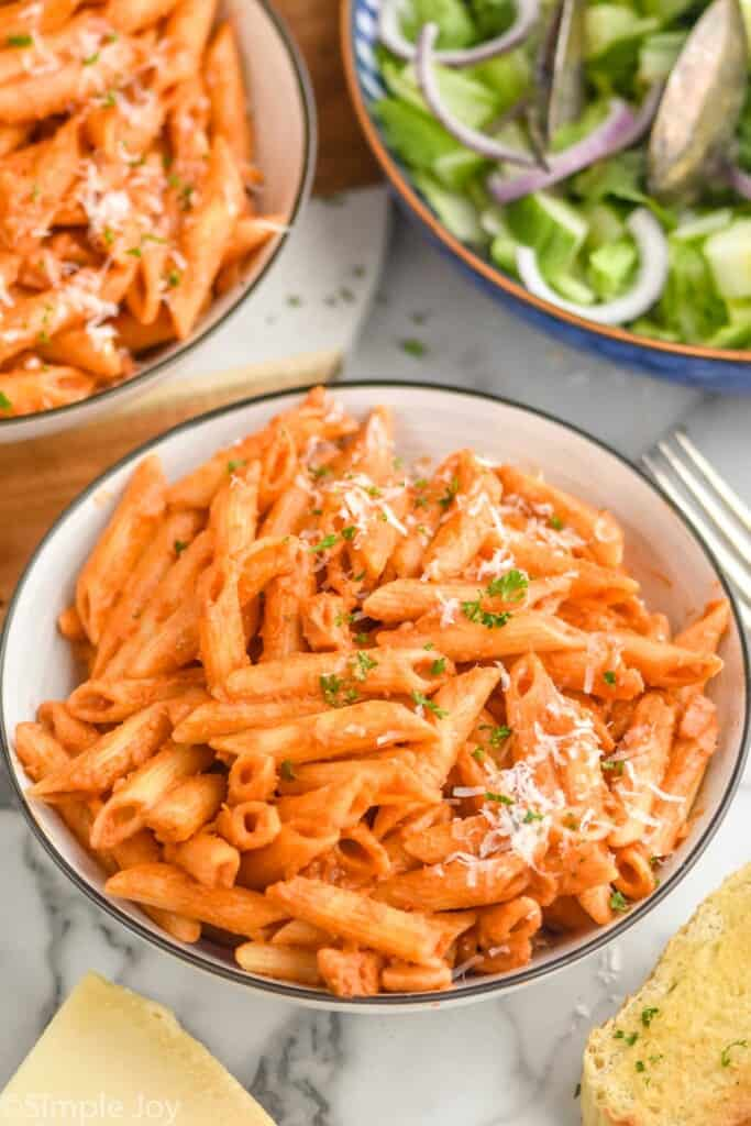 small bowl full of noodles in penne Alla vodka sauce