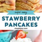 pintertest graphic of strawberry pancakes
