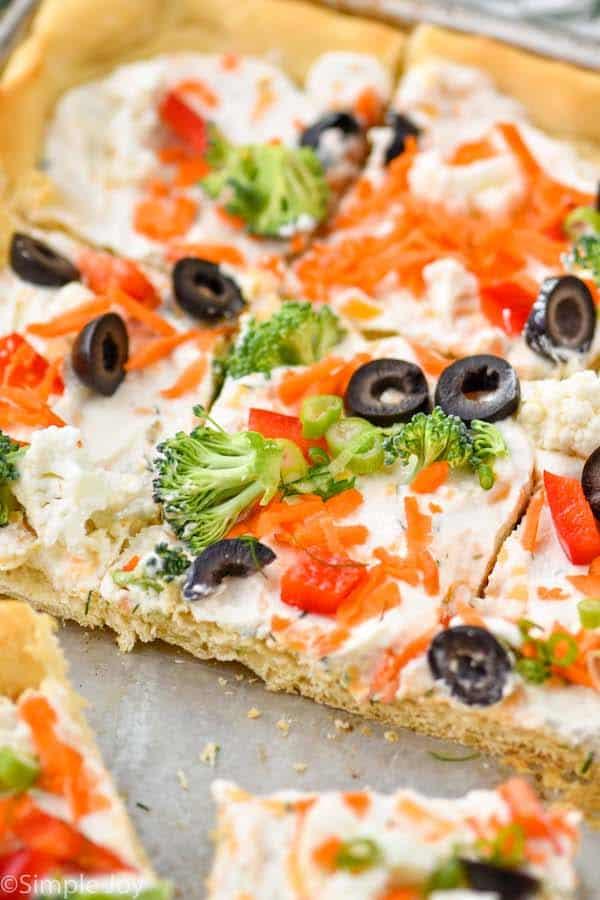 close up of a veggie pizza recipe in a baking sheet