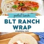 pinterest graphic of blt ranch wraps