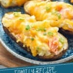pinterest graphic of close up of a crab twice baked potato on a plate