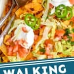 pinterest graphic of close up of taco casserole in a baking dish
