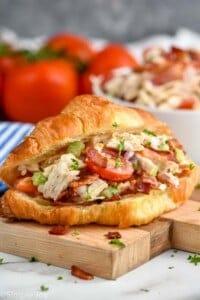 blt chicken salad sandwich on a croissant