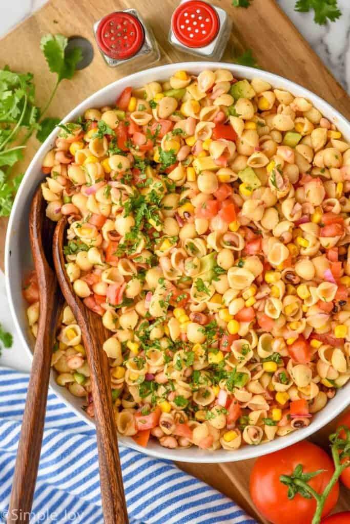 overhead of a big bowl of cowboy caviar pasta salad