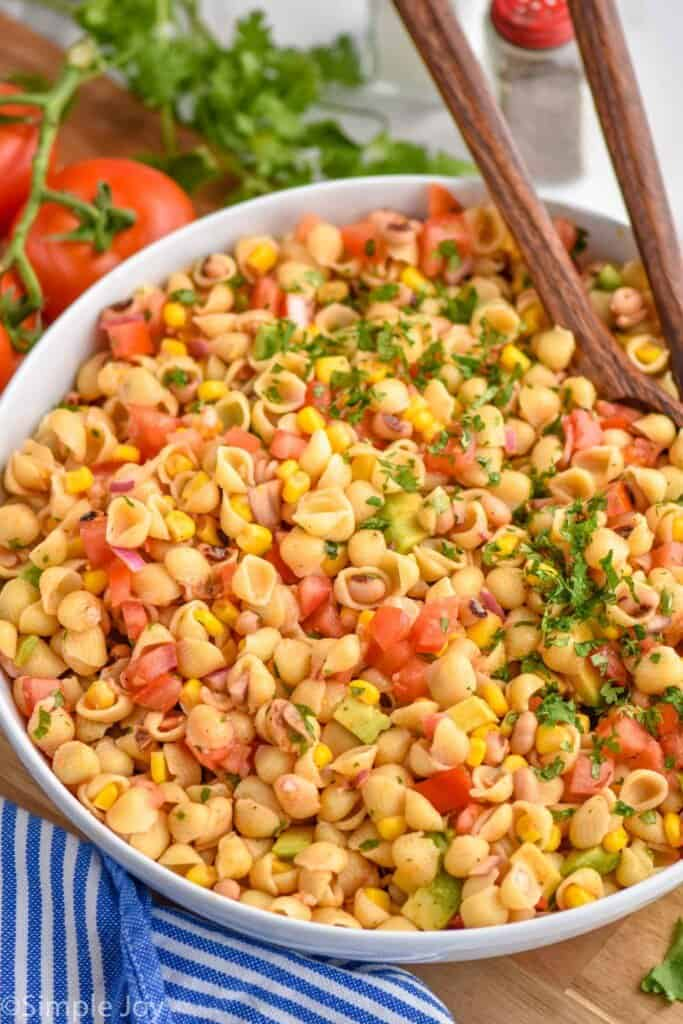 side view of a pasta salad recipe