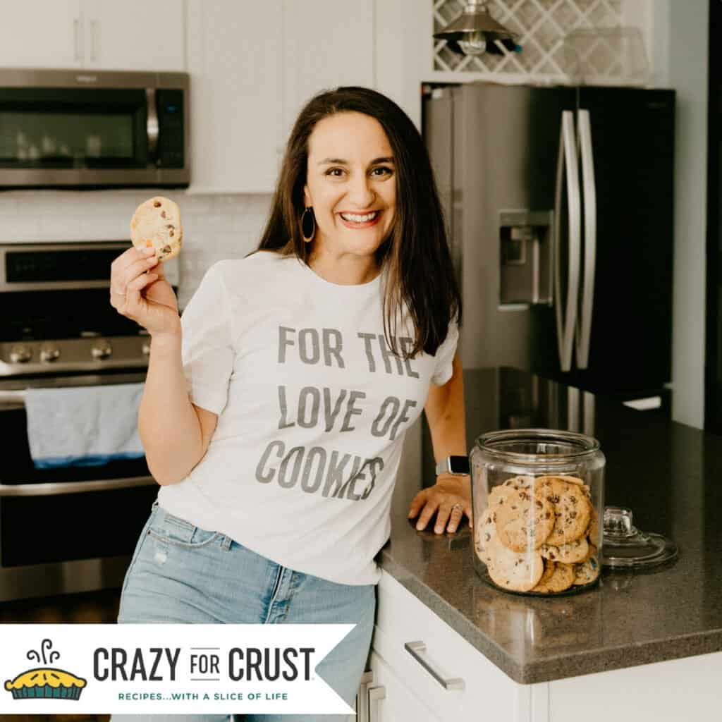 """woman in a shirt that says """"for the love of cookies"""""""
