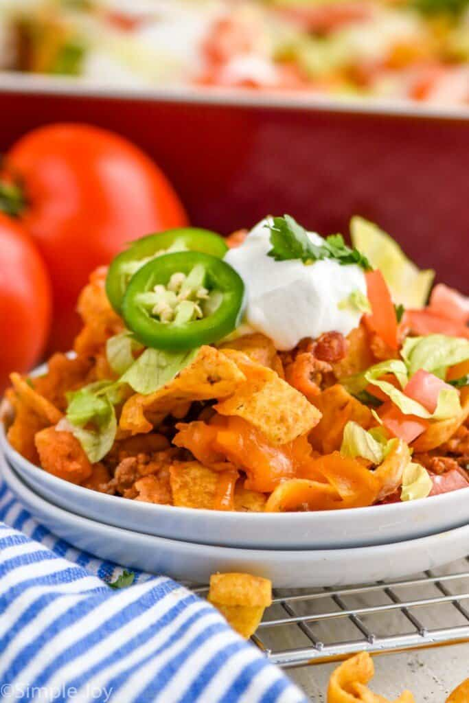 close up of taco casserole recipe on two small white plates