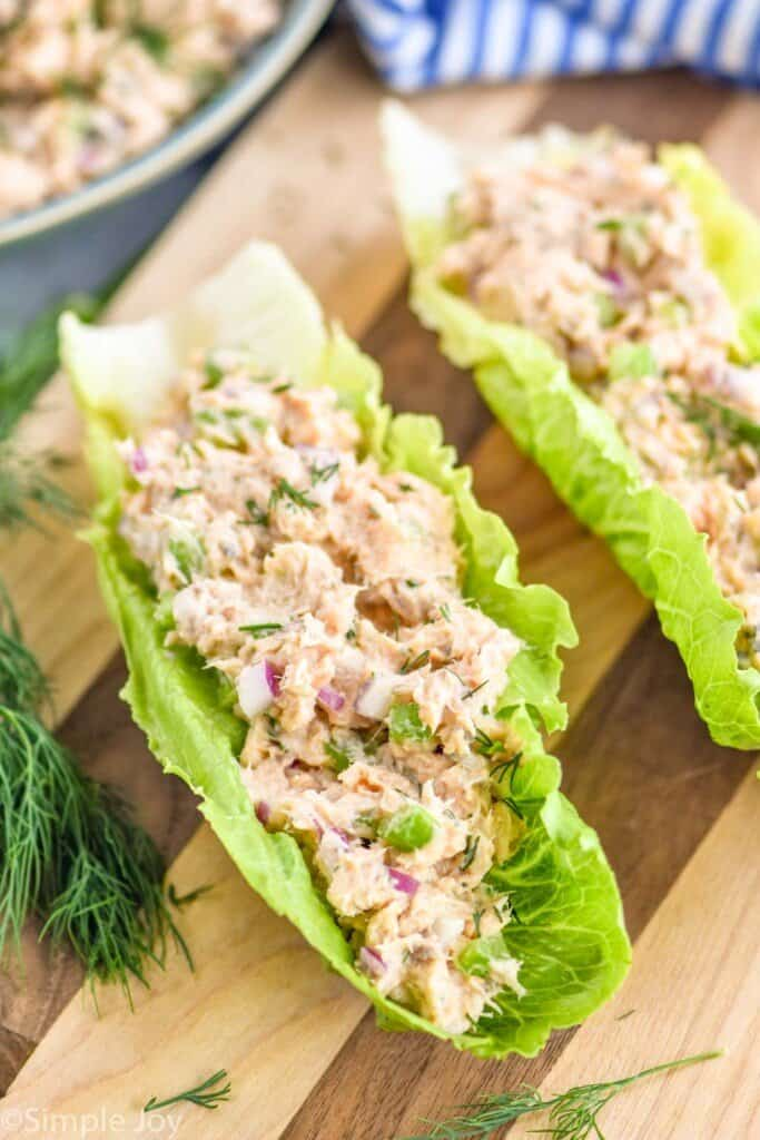 salmon salad in lettuce cups