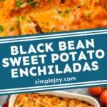 pinterest graphic of black bean enchiladas