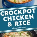 Pinterest graphic for crockpot chicken and rice casserole