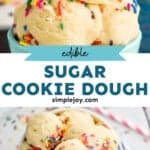pinterest graphic of sugar cookie dough