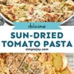 sun-dried tomato pasta pinterest graphic