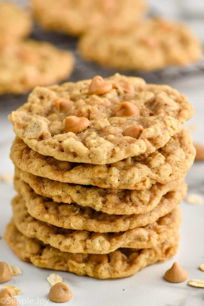 a stack of oatmeal butterscotch cookie recipe