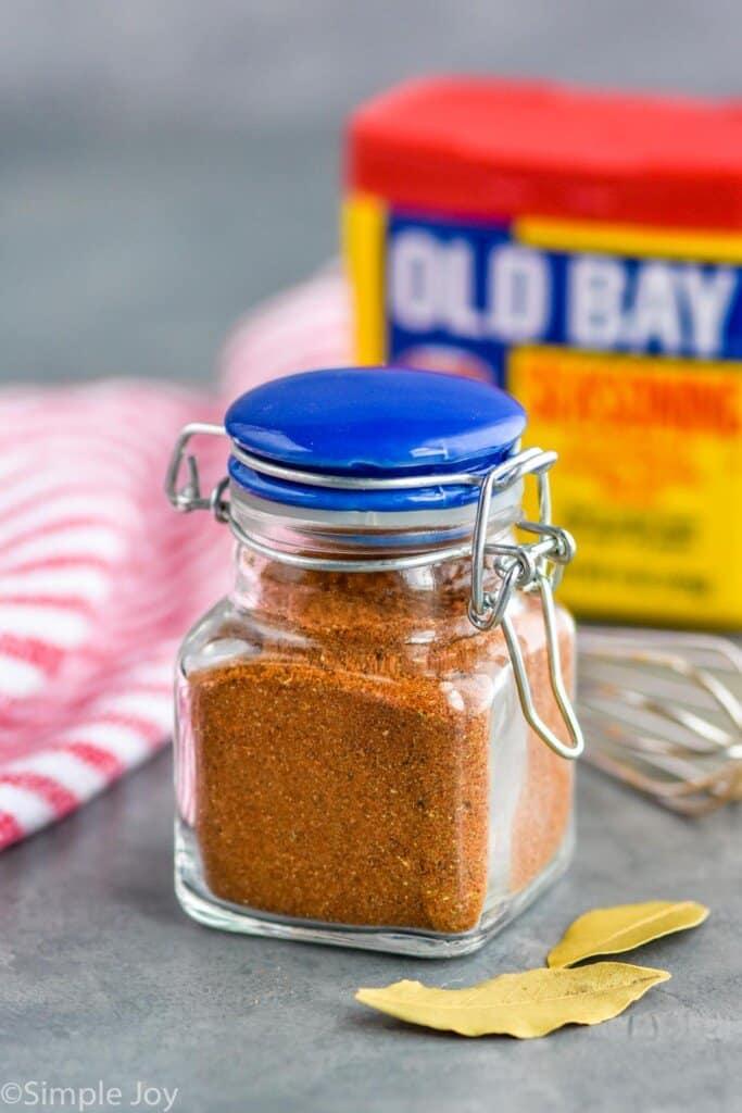 homemade old bay seasoning in a small jar