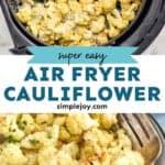 pinterest graphic of air fryer cauliflower