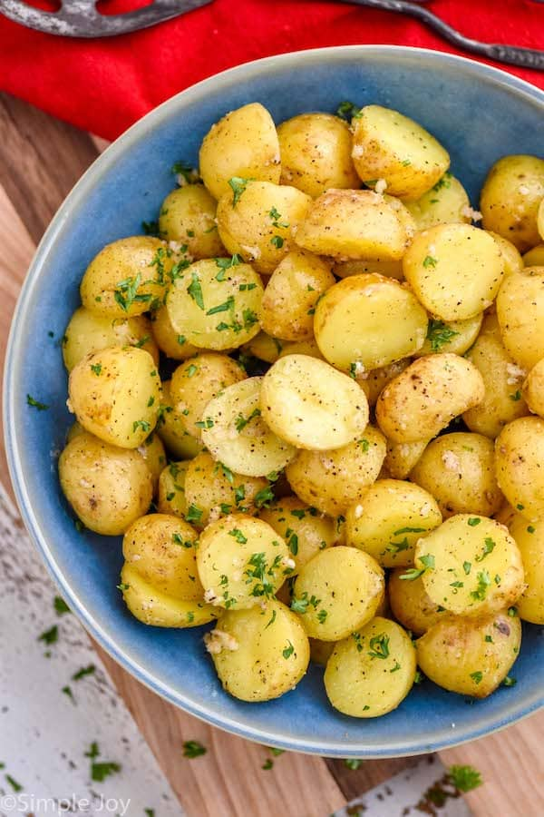 overhead of a bowl of instant pot baby potatoes