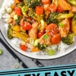 pinterest graphic of overhead of a bowl of chicken stir fry with rice