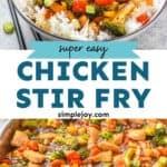 pinterest graphic of chicken stir fry