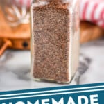 Pinterest graphic of small bottle of grill seasoning recipe