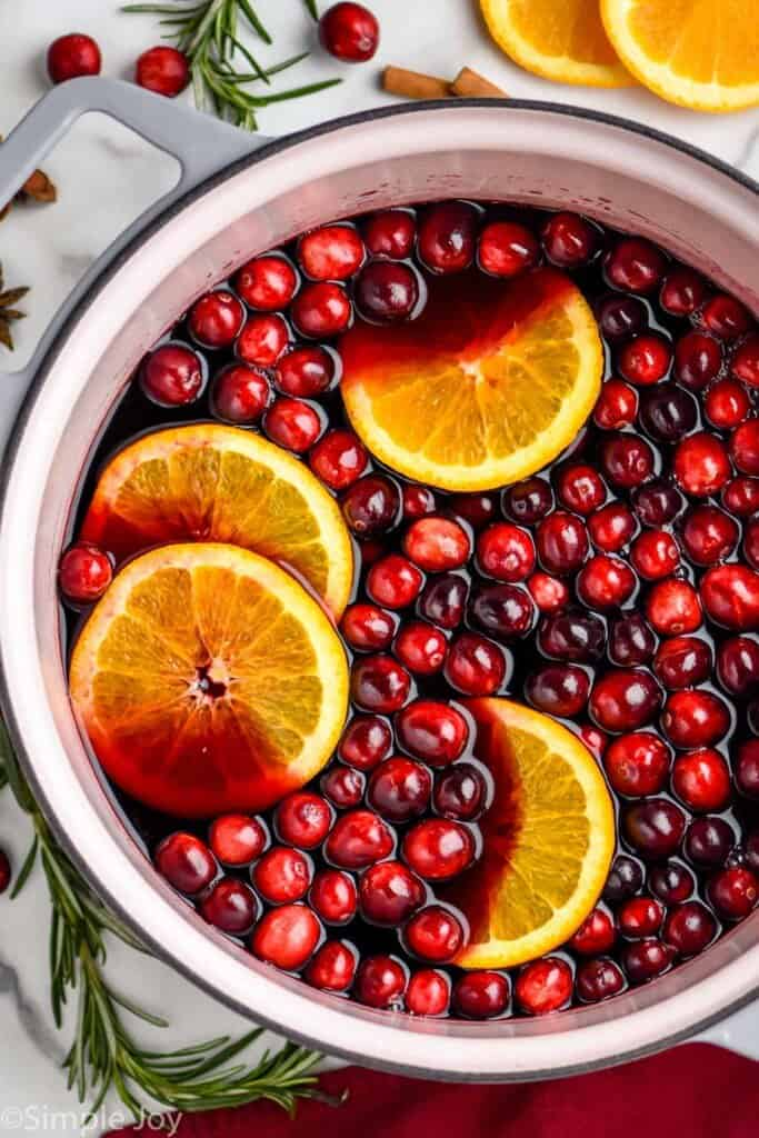 overhead of a stock pot full of mulled wine recipe, garnished with fresh cranberries and oranges