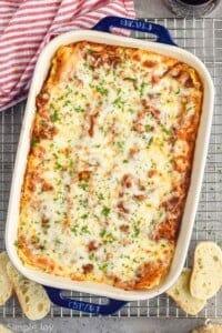 overhead of a baking dish full of turkey lasagna
