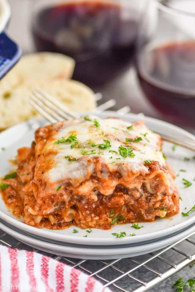 a piece of lasagna on a plate
