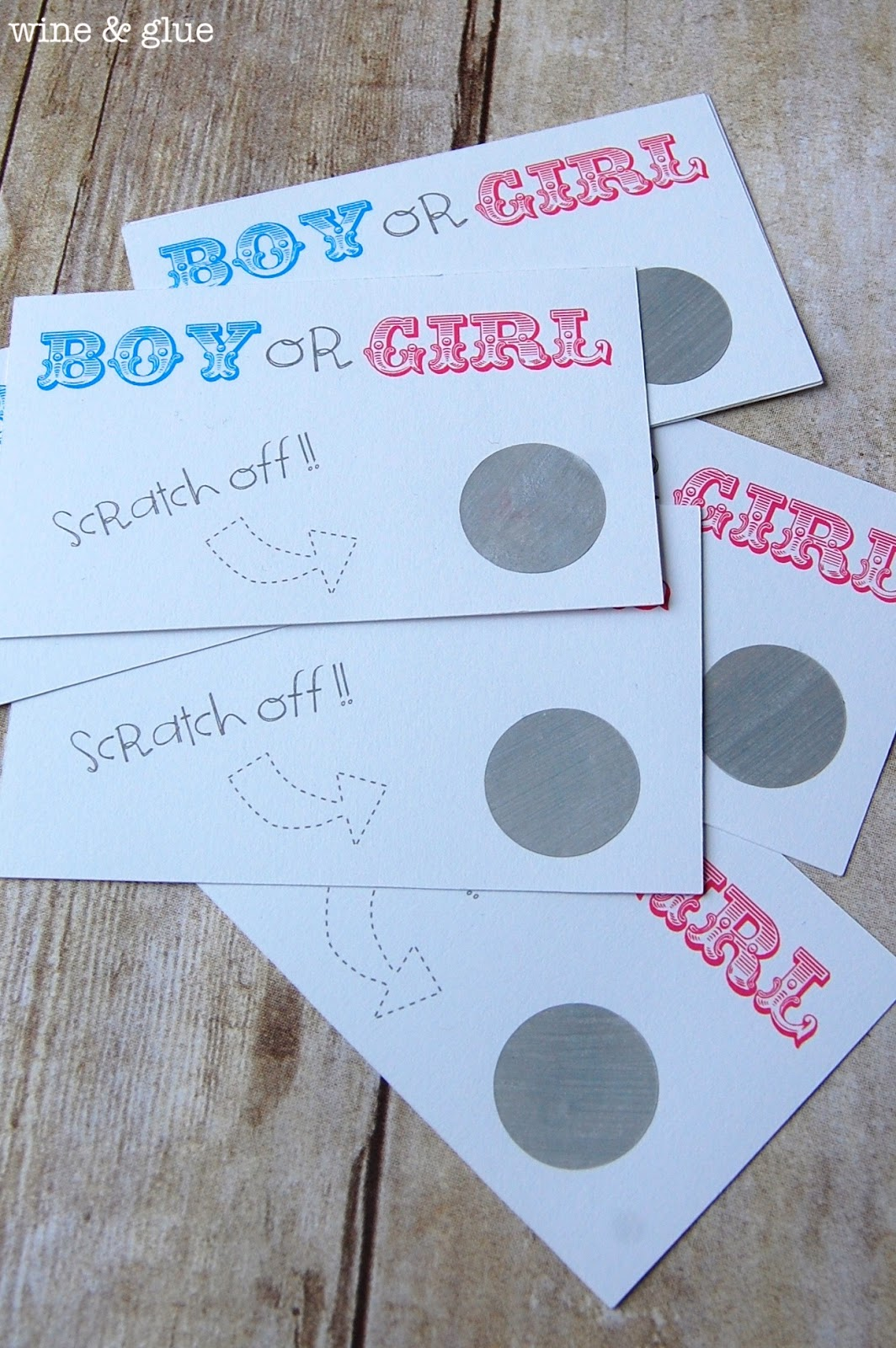 Gender Reveal Party Idea Wine Glue – Baby Gender Announcement Cards