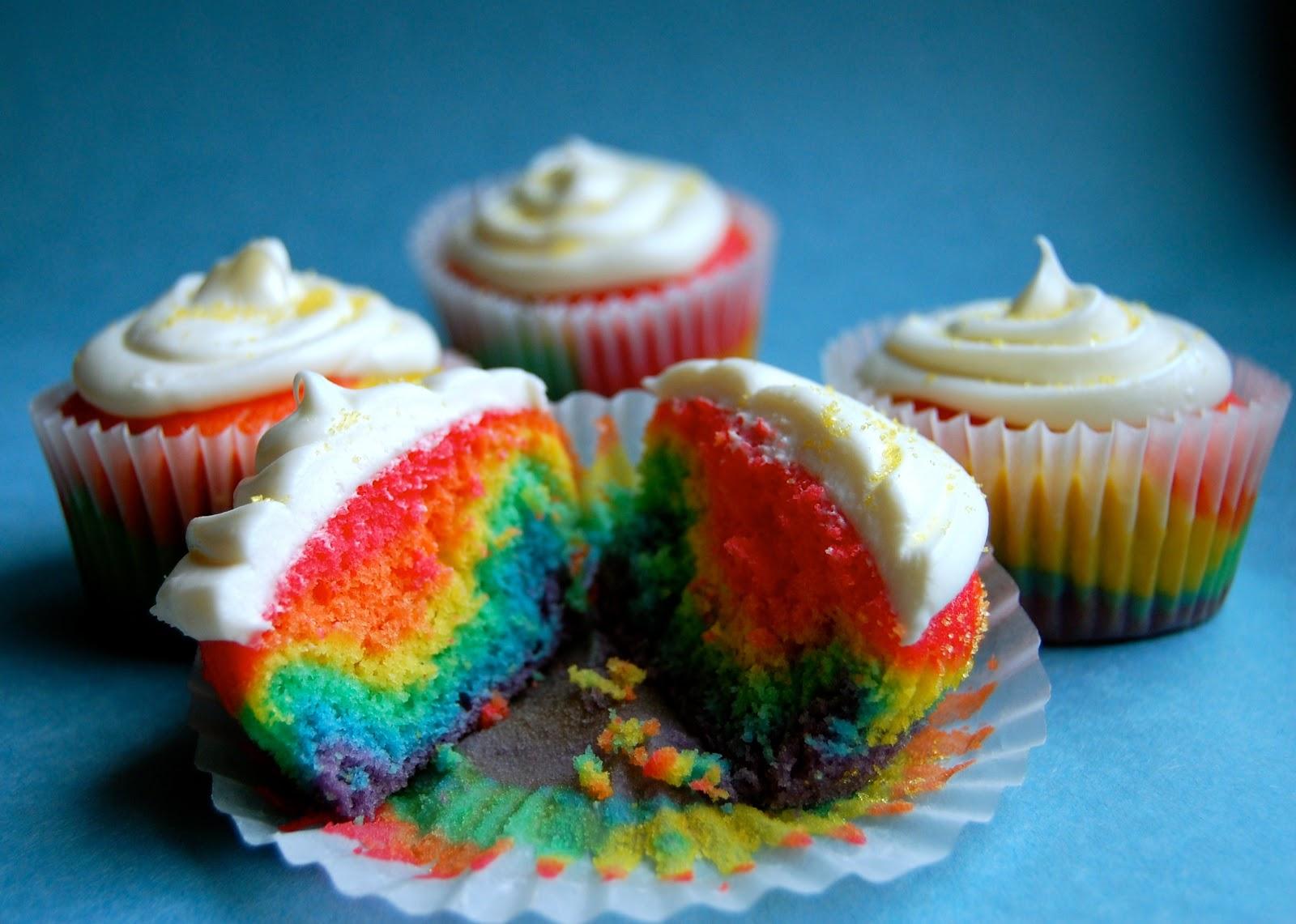 Rainbow Cupcakes - Wine & Glue