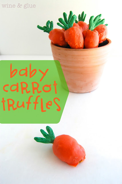 Baby Carrot Truffles | www.wineandglue.com | Delicious carrot cake truffles shaped like cute little baby carrots