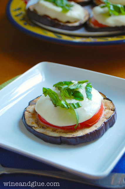 Grilled Eggplant Caprese makes a nice little lunch or a fun fancy appetizer! via www.wineandglue.com