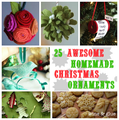 25 Awesome Homemade Christmas Ornaments on www.wineandglue.com
