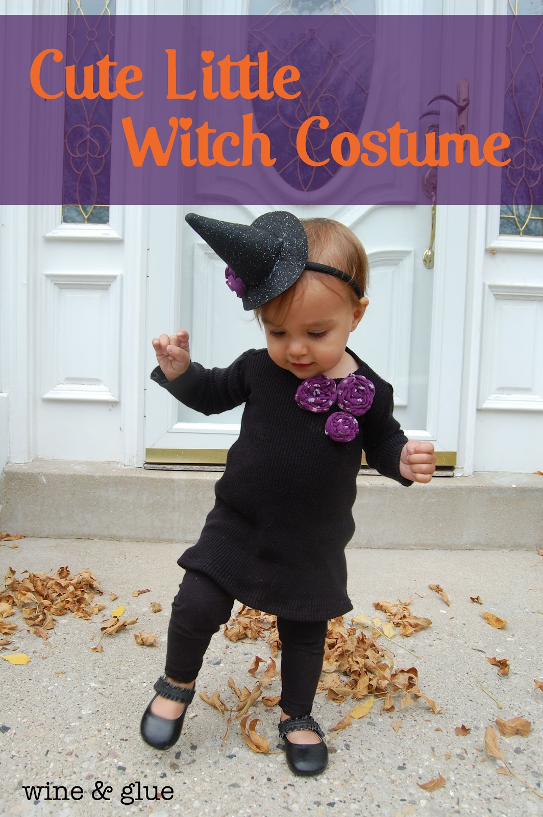 Cute Little Witch Costume Tutorial for dress and witch hat! via .wineandglue  sc 1 st  Wine u0026 Glue & Cute Little Witch Costume - Wine u0026 Glue