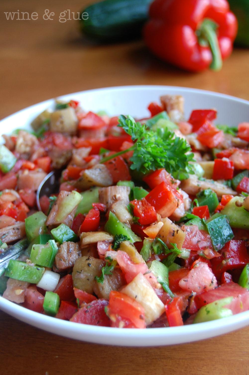Roasted Eggplant Salad - Wine & Glue
